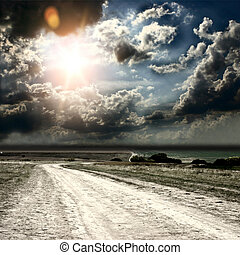 road and fields on the background of the beautiful sky