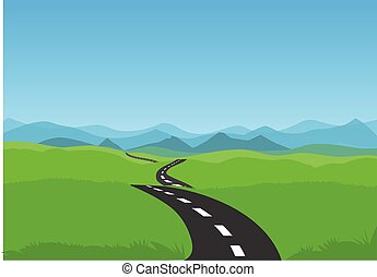 road and green landscape with blue sky . Vector illustration of winding road. stock illustration