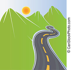 Road and green mountains vector stock