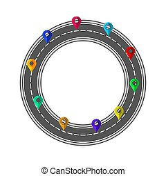 Road and Highway Circle with Markers for City Map Creation. Path Design for Traffic Illustration. Asphalt Traffic Street
