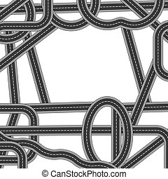 Road and Highway Elements for City Map Creation. Path Desigh for Traffic Illustration. Asphalt Traffic Streets.