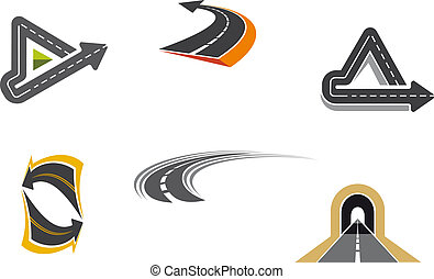 Road and highway symbols - Set of road and highway icons and...