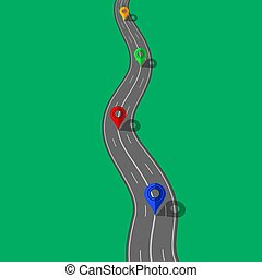 Road and Highway with Markers for City Map Creation. Path Desigh for Traffic Illustration. Asphalt Traffic Streets