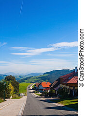Road and houses in the Austrian Alps