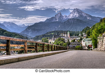 road and mountain resort - Berchtesgaden landscape and...