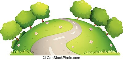 Road and nature - Illustration of a single road surrounded ...
