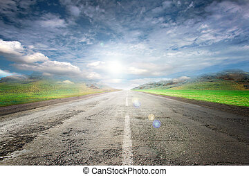 Road and sky - Summer day and road as travel background