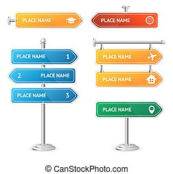 Road and Street Sign Set. Vector