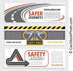 Road and traffic safety banner template set. Highway road...