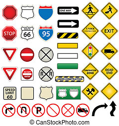 Road and traffic signs - Various road and traffic signs