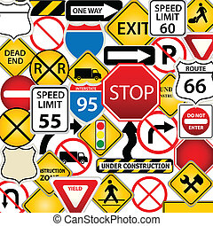 Road and traffic signs - Collage of road and traffic signs