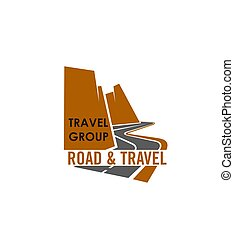Road and travel company sign