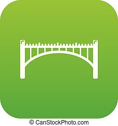 Road arch bridge icon green vector
