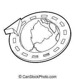 Road around earth globe icon, outline style