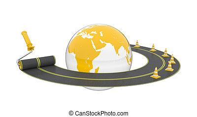 Road around globe on white background. Isolated 3D image