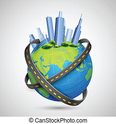 illustration of road around globe with tall buildings