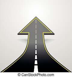road arrow - detailed illustration of a road going up as an...