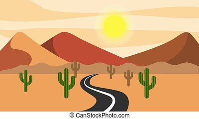road asphalt in the desert mountains cactus animation
