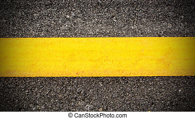 Road asphalt texture and background with yellow line