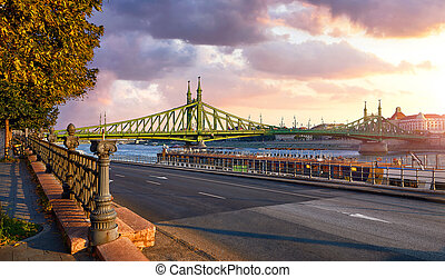 Road at Freedom bridge on Danube river in Budapest city, Hungary.
