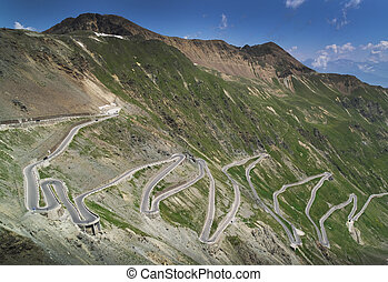 Road at Passo dello Stelvio - Steep road at Passo dello ...