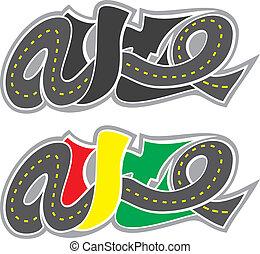 Road auto logo isolated