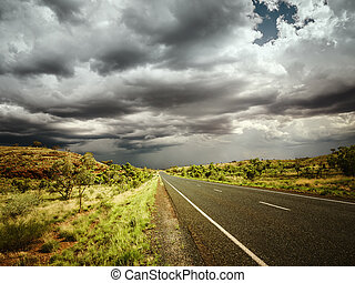 An image of a road under bad weather