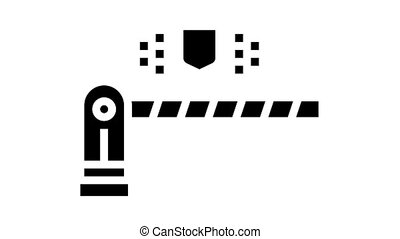 road barrier animated glyph icon. road barrier sign. isolated on white background