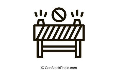 road barrier Icon Animation. black road barrier animated icon on white background