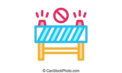 road barrier Icon Animation. color road barrier animated icon on white background