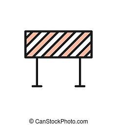Road barrier, roadblock, borderline flat color line icon. - ...