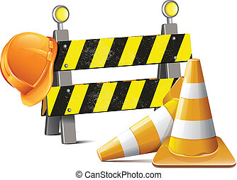 Road Barrier With Hard Hat And Traf