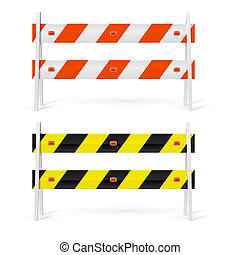Road barriers - Orange and white, black and yellow road...
