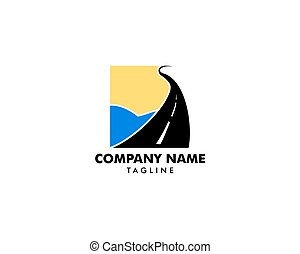 Road Beach logo design Vector