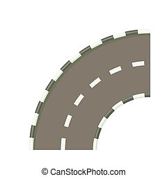 Road bend icon in cartoon style