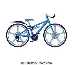 Road Bicycle, Ecological Sport Transport, Blue Bike Side View Flat Vector Illustration