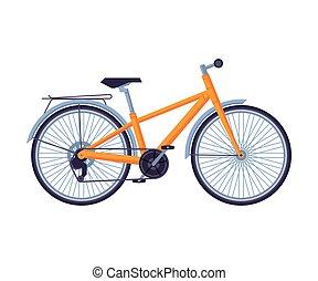 Road Bicycle, Ecological Sport Transport, Orange Bike Side View Flat Vector Illustration
