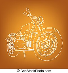 Road bike. Motorcycle in the contour lines. Silhouette of a motorcycle. The contours of the motorcycle.