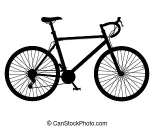 road bike with gear shifting black silhouette illustration...