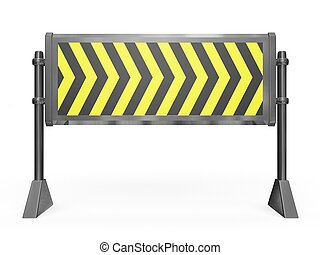 Road Block Barrier - This 3D illustration is of a metallic ...