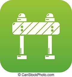 Road block icon green vector