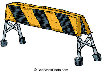 Road Block - A yellow and black striped, cartoon road block.