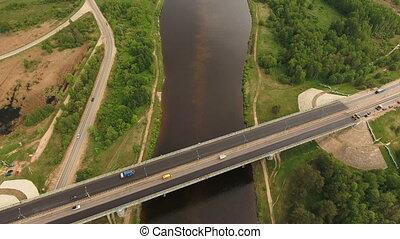 Road bridge across the river. - Aerial view.Road bridge over...