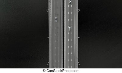 road bridge, aerial footage from a copter - flying over a...