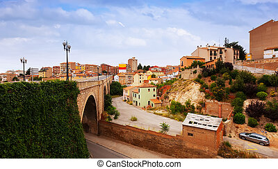 Road bridge and residence district in Teruel