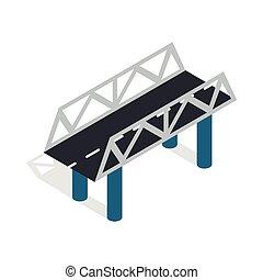 Road bridge icon, isometric 3d style