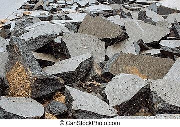 Road broken into pieces