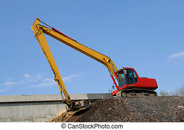 Road building - Construction industry machinery - red ...