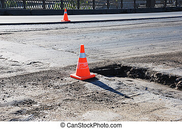 road-building - road building, asphalt, orange sign and pot-...