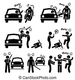 A set of human pictogram representing road bully having a scuffle with another driver.